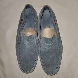 Grey suede monogram Gucci driver loafers